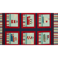 "Ships Ahoy 24"" Panel Navy/Red"