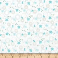 Cherry Blossom Festival Birds & Butterflies White/Light Turquoise Metallic