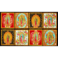 "Kaufman Inner Faith Metallic Mary Statues Bright 24"" Panel Multi"