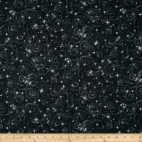 Kaufman Stargazers Metallic Star Texture Black