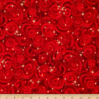 Kaufman Stargazers Metallic Star Texture Red