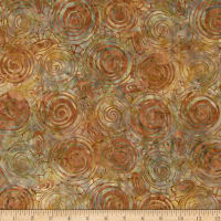 Indonesian Batiks Circles Rust Natural