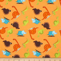 Riley Blake Cotton Jersey Knit Dinosaur Toss Orange