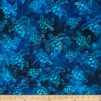 Kaufman Artisan Batiks Totally Tropical Small Turtles Regatta