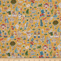 Liberty Fabrics Seasonal Tana Lawn Gallymoggers Reynard Golden Yellow/Multi
