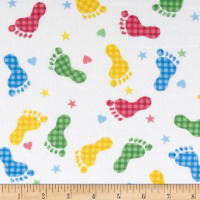 Comfy Flannel Footprints White/Primary