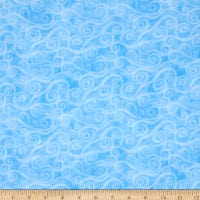"108"" Wide Quilt Back Flannel Swirly Scroll Blue"