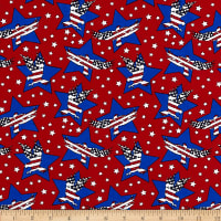 Patriotic White Star Toss on Red Cotton Fabric Studio E Lets Celebrate YARD
