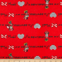 Disney Minnie Traditional Flannel I'm Bowtiful! Mwah! Red