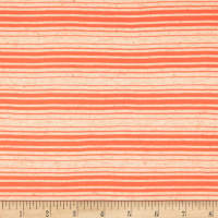Sheer Yarn-Dyed Striped Jersey Knit Natural/Neon Orange