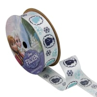 "7/8"" Frozen Ribbon Royal Characters White 3YD Spool"