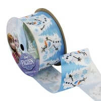 "1 1/2"" Frozen Ribbon Olaf Snowy White 3YD Spool"
