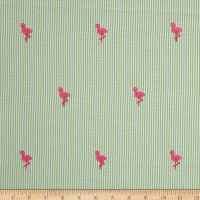 Kaufman Embroidered Seersucker Flamingos Lime