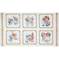 Sunbonnet Emma & Friends 24 In. Patchwork Panel Cream