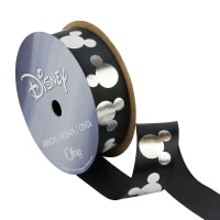 "7/8"" Mickey Mouse Ribbon Silouhette Black/White"