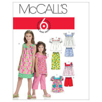 McCall's Children's/Girls' Tops, Dresses, Shorts And Pants Pattern M6022 Size CCE