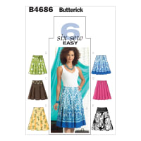 Butterick B4686 Misses' Skirt Pattern AA (Sizes 6-12)