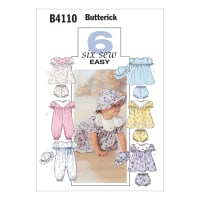 Butterick Infants' Dress, Panties, Jumpsuit and Hat Pattern B4110 Size OSZ