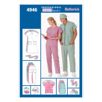 Butterick B4946 Unisex Uniforms (Dress, Belt, Top, Skirt, Pants, Hat & Ponytail Holder) Pattern Size LRG