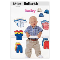 Butterick Infants' Shirt, T-Shirt, Pants and Hat Pattern B5510 Size LRG