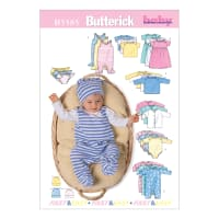 Butterick B5585 Infants' Jacket, Dress, Top, Romper, Diaper Cover and Hat Pattern Size MED