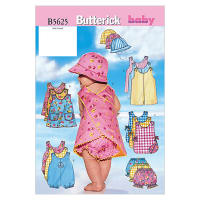 Butterick Infants' Romper, Jumper, Panties and Hat Pattern B5625 Size LRG