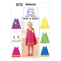 Butterick Toddler's & Children's Dress Pattern B3772 Size 010