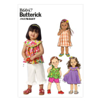 Butterick B6047 Toddlers' Top, Dress, Shorts and Pants Pattern CCB (Sizes 1-2-3-4)