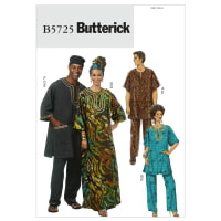 Butterick B5725 Misses'/Men's Tunic, Caftan, Pants, Hat and Head Wrap Pattern Size XM0