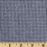 Cotton Seersucker Check Navy/White