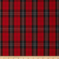 Polyester Uniform Plaid Red/Black/White Poplin