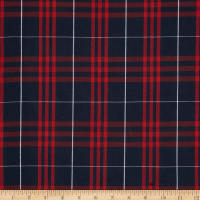 Poly/Cotton Uniform Plaid Navy/Red/White Poplin