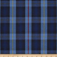 Poly/Cotton Uniform Plaid Black/Blue/Yellow Poplin