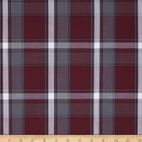 Poly/Cotton Uniform Plaid Maroon/Gray/White Poplin