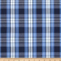 Poly/Cotton Uniform Plaid Blue/Navy/White Poplin