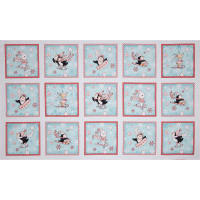"Peppermint Penguin Block 24"" Panel Patches Aqua"