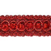 "7/8"" Trish Sequin Metallic Braid Trim Red (Roll, 20 Yards)"