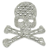"3"" x 3"" Iron On Rhinestone Skull and Bones Applique"