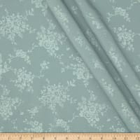 Polyester Embossed Floral Shirting Slate Green