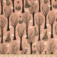 Cotton + Steel Spellbound Metallic Trees Pink