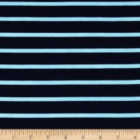 Riley Blake Jersey Knit Stripe Aqua/Navy