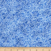 Timeless Treasures Frozen Winter Blues Metallic Swirl Delft