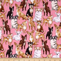 Timeless Treasures Chihuahuas Pink