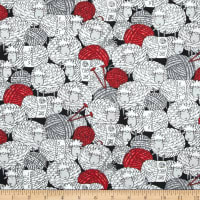 Timeless Treasures Knitting Sheep Yarnball Cotton Fabric Black