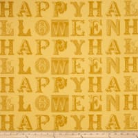 QT Fabrics Sew Scary Happy Halloween Letters Light Gold