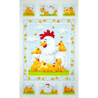 Susybee Pippa & Chicks 24 In. Pippa Quilt Panel White