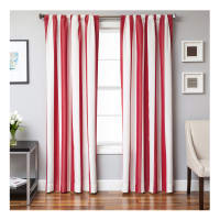 Sunbrella 84'' Stripe Rod Pocket Curtain Panel Natural/Jockey Red