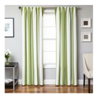 Sunbrella 84'' Stripe Rod Pocket Curtain Panel Natural/Ginko