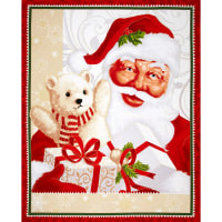 Jolly Old St. Nick 36 In. Metallic Panel Red