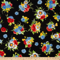 Michael Miller Vintage Florals Bette's Bouquet Black